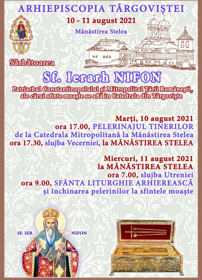 Read more about the article SĂRBĂTORIREA SFÂNTULUI IERARH NIFON,   PATRIARHUL CONSTANTINOPOLULUI ŞI MITROPOLITUL   ŢĂRII ROMÂNEŞTI, LA TÂRGOVIŞTE